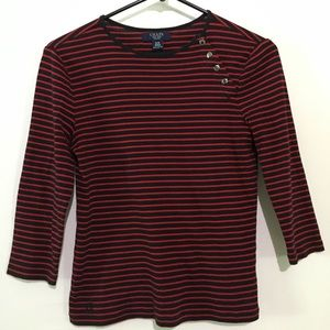 2/$20 Chaps Petite Striped 3/4 Sleeve Shirt